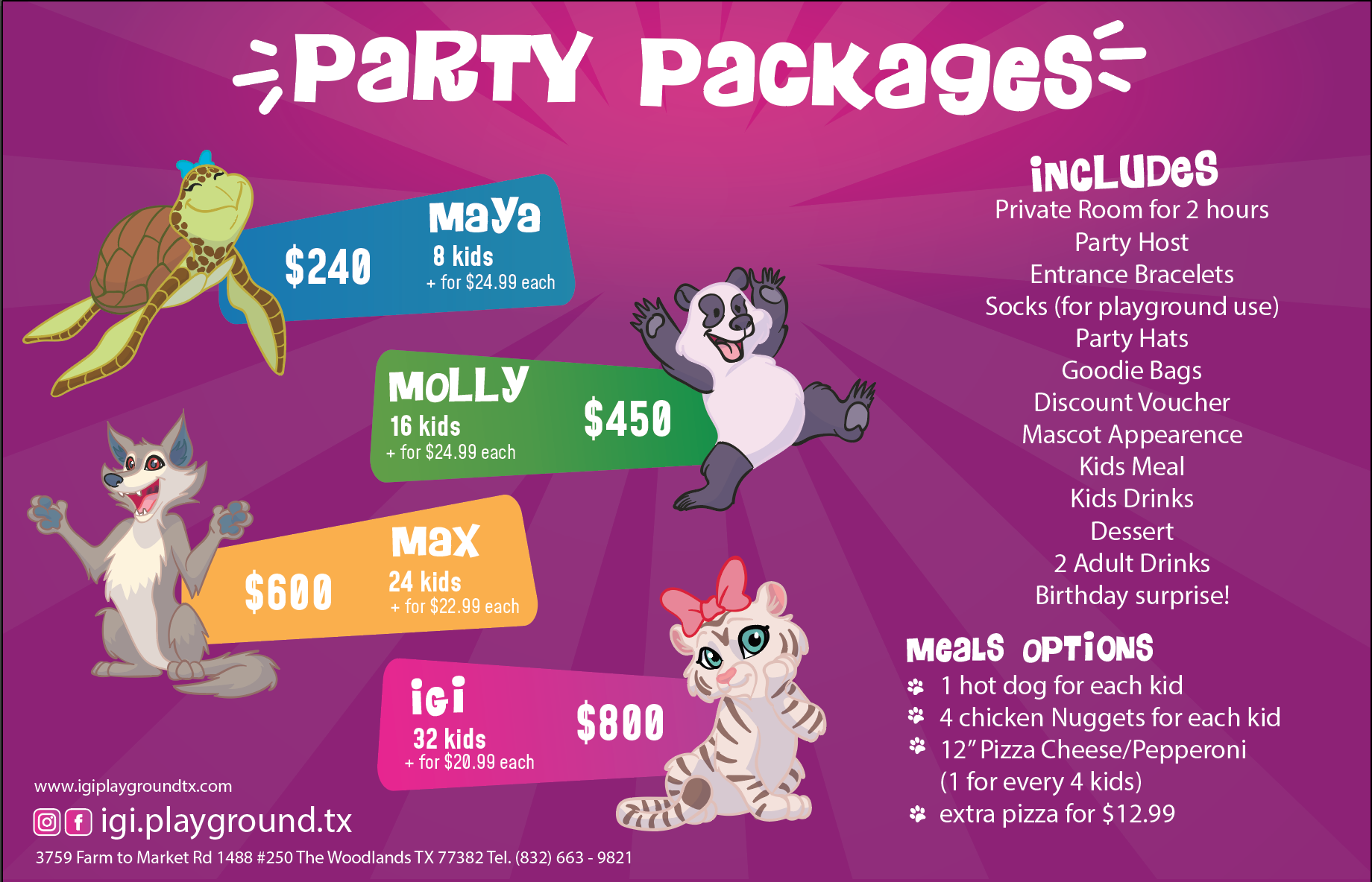 Igi Playground party Packages